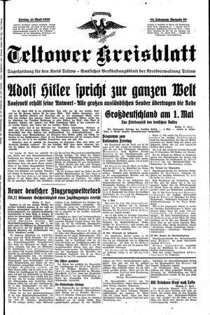 Teltower Kreisblatt vom 28.04.1939