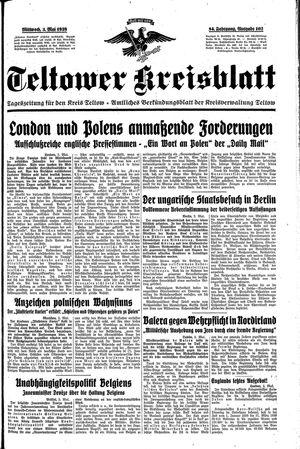 Teltower Kreisblatt vom 03.05.1939