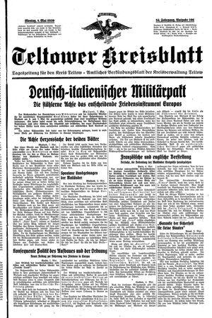 Teltower Kreisblatt vom 08.05.1939