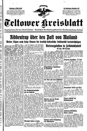 Teltower Kreisblatt vom 09.05.1939