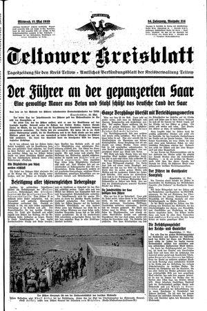 Teltower Kreisblatt vom 17.05.1939