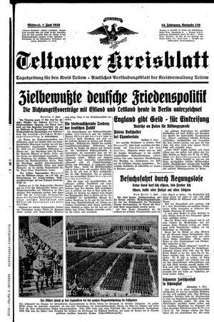 Teltower Kreisblatt vom 07.06.1939