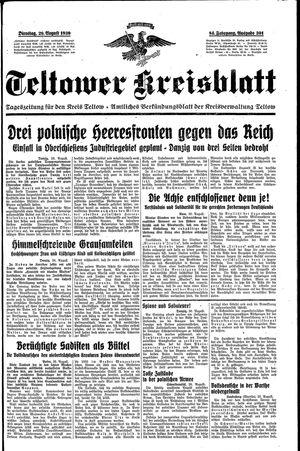 Teltower Kreisblatt vom 29.08.1939