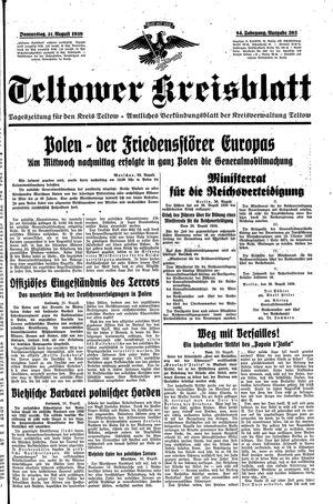 Teltower Kreisblatt vom 31.08.1939
