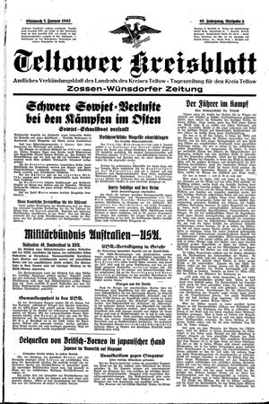 Teltower Kreisblatt vom 07.01.1942