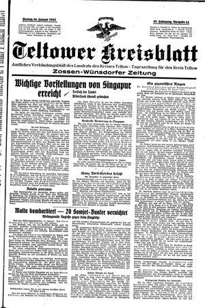 Teltower Kreisblatt vom 16.01.1942