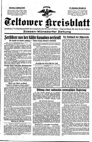 Teltower Kreisblatt vom 03.02.1942