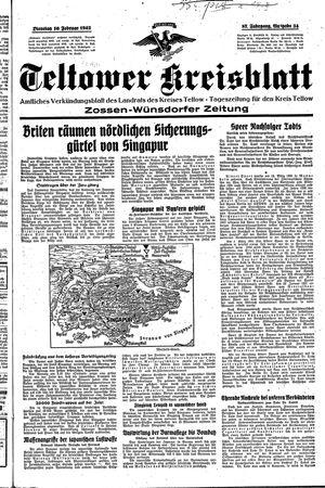 Teltower Kreisblatt vom 10.02.1942