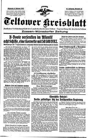 Teltower Kreisblatt vom 11.02.1942