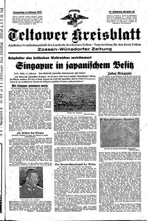 Teltower Kreisblatt vom 12.02.1942