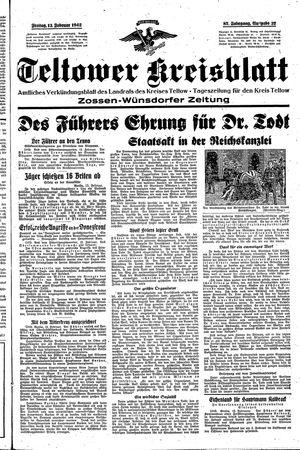 Teltower Kreisblatt vom 13.02.1942