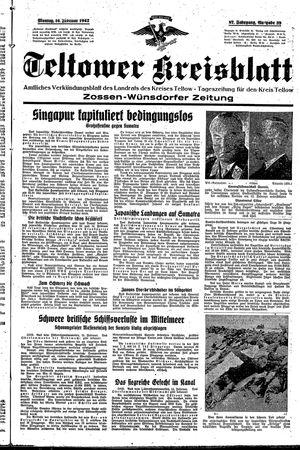 Teltower Kreisblatt vom 16.02.1942