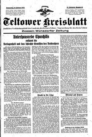 Teltower Kreisblatt vom 26.02.1942