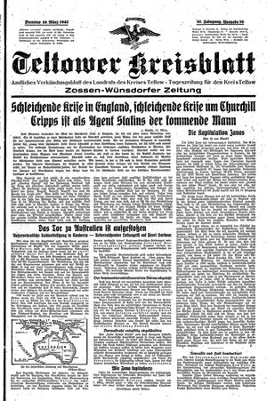 Teltower Kreisblatt on Mar 10, 1942