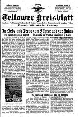 Teltower Kreisblatt vom 23.03.1942