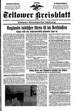 Teltower Kreisblatt vom 26.03.1942