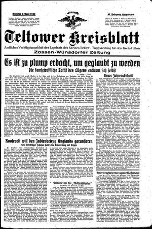 Teltower Kreisblatt vom 07.04.1942