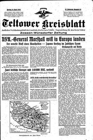 Teltower Kreisblatt vom 10.04.1942