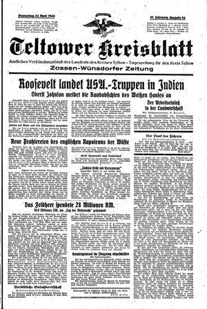 Teltower Kreisblatt vom 23.04.1942