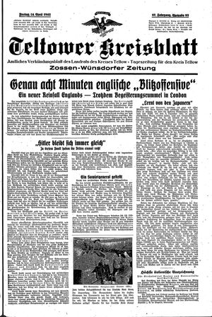 Teltower Kreisblatt vom 24.04.1942