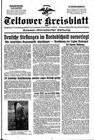 Teltower Kreisblatt vom 25.04.1942