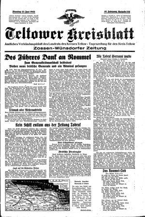 Teltower Kreisblatt vom 23.06.1942