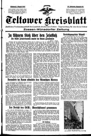 Teltower Kreisblatt vom 05.08.1942