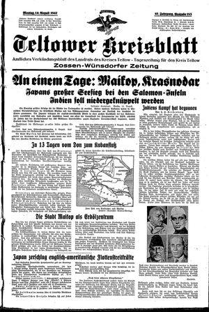 Teltower Kreisblatt vom 10.08.1942