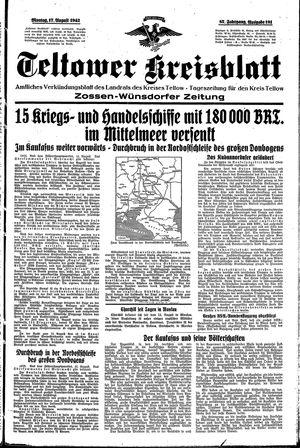 Teltower Kreisblatt vom 17.08.1942