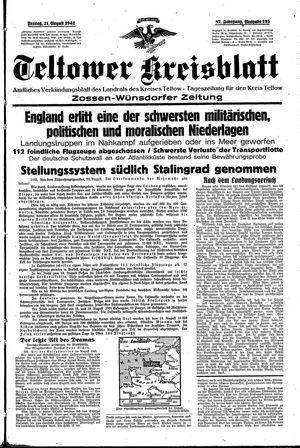 Teltower Kreisblatt vom 21.08.1942