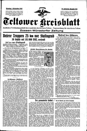 Teltower Kreisblatt on Sep 1, 1942