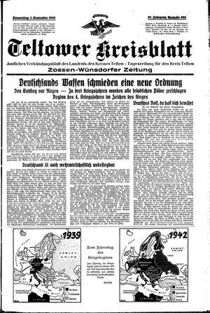 Teltower Kreisblatt vom 03.09.1942