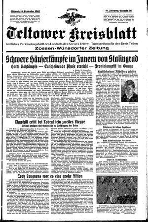 Teltower Kreisblatt on Sep 16, 1942