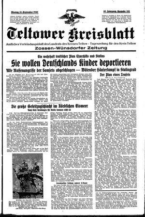 Teltower Kreisblatt vom 21.09.1942
