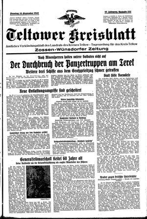 Teltower Kreisblatt vom 22.09.1942