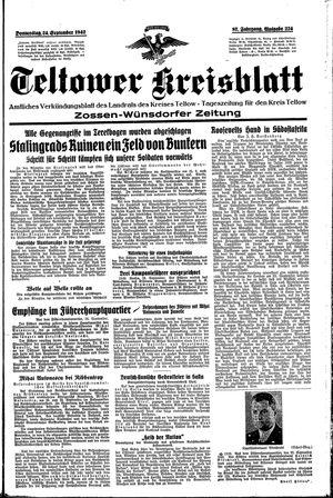 Teltower Kreisblatt vom 24.09.1942