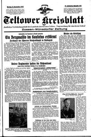 Teltower Kreisblatt vom 25.09.1942