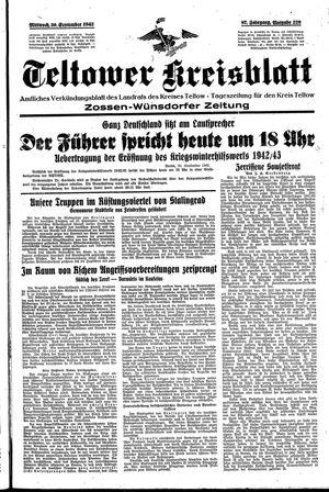 Teltower Kreisblatt vom 30.09.1942