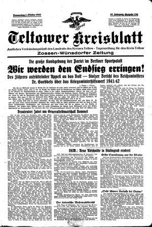 Teltower Kreisblatt vom 01.10.1942