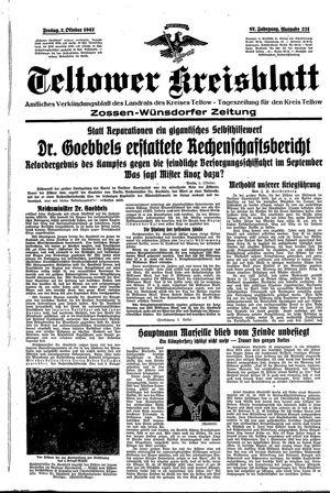 Teltower Kreisblatt vom 02.10.1942