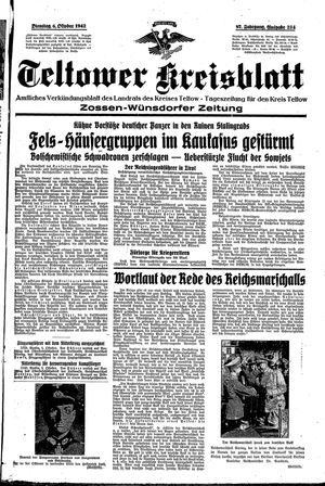 Teltower Kreisblatt vom 06.10.1942