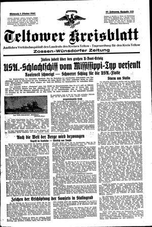Teltower Kreisblatt vom 07.10.1942