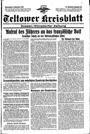 Teltower Kreisblatt vom 12.11.1942