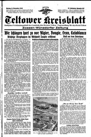 Teltower Kreisblatt vom 13.11.1942