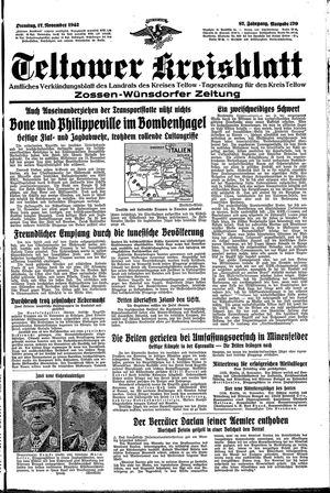 Teltower Kreisblatt vom 17.11.1942