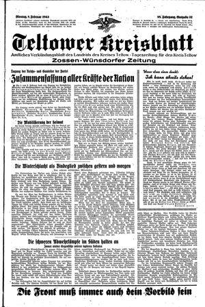 Teltower Kreisblatt vom 08.02.1943