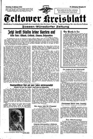 Teltower Kreisblatt vom 16.02.1943