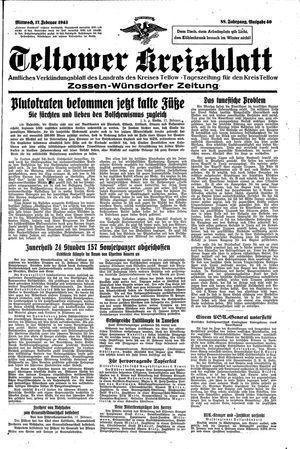 Teltower Kreisblatt vom 17.02.1943