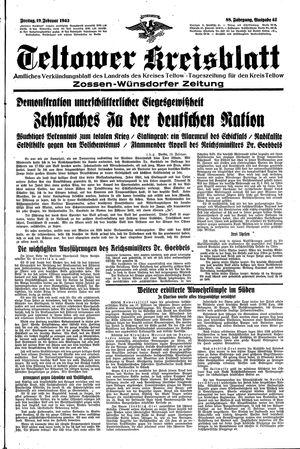 Teltower Kreisblatt vom 19.02.1943
