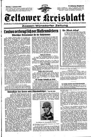 Teltower Kreisblatt vom 22.02.1943